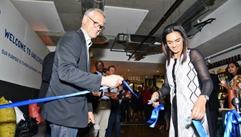 Bruno Witvoet, Unilever Africa president and Mechell Chetty, Unilever vice president for HR, Africa, at the opening of Unilever's new Africa hub.