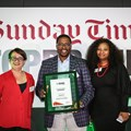 Overall Top Brand Grand Prix - Business - Vodacom (Lana Strydom and Zinhle Modiselle) with Bongani Siqoko, editor of Sunday Times.