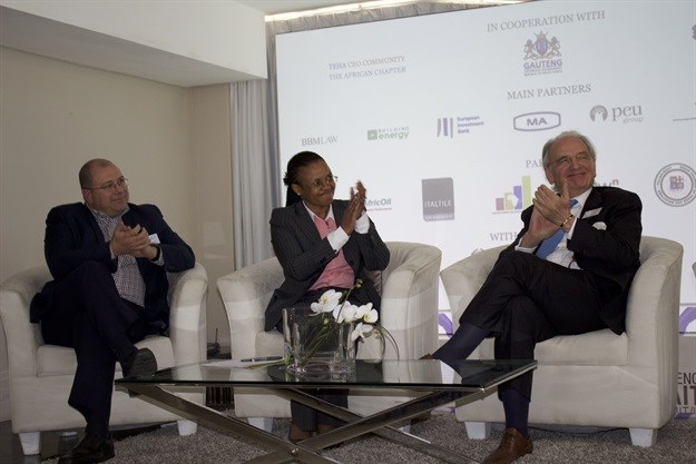 From left Mr Nico de Kock, Grown Consulting , Director General in the Gauteng Premier's Office, Ms Phindile Baleni & Mr Paolo Borzatta, Senior Partner of The European House of Ambrosetti, celebrating the partnership between Italy & Gauteng