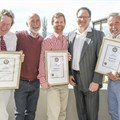Jeremy Borg (Painted Wolf Wines), Beyers Truter (Pinotage Association), Andre Scriven (Rooiberg), Johan van der Watt (Absa), Eric Saayman (Riebeek Cellars)