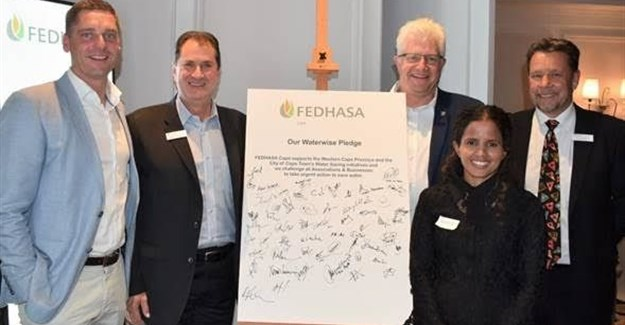 From left to right: Joep Schoof, Chairperson: FEDHASA Cape Hotels segment; Jeff Rosenberg, Chairperson: FEDHASA Cape; Alan Winde, Minister of Economic Opportunities, Western Cape; Chris Godenir, Alternate: FEDHASA Cape Hotels segment and councillor Xanthea Limberg, mayoral committee member for informal settlements, water and waste services and energy.