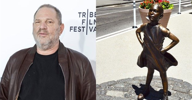 Harvey Weinstein and 'Fearless Girl' statue © Sam Aronov and tom934 - .