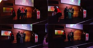 The night's big winners - Journalist of the year, Sipho Masondo of City Press; SA story of the Year, Suzanne Venter of Rapport; Upcoming/Rising Star of the Year, Botshilo Maake of City Press; and Lifetime achiever, Juby Mayet.