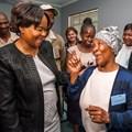 Gauteng Health MEC Gwen Ramokgopa chats to patient, Elisabeth Mokgeti