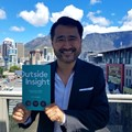 Meltwater CEO Jorn Lyseggen with his book, Outside Insight.
