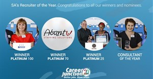 From left to right: Martinette van Wymeersch (Sinakho Staffshop), Schalk Verwey and Patience Chisoro (Edge Executive Search) and Janine Azevedo - Consultant of the Year (Sinakho Staffshop)