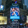 Alika Dangote featured on the Nasdaq billboard in New York.