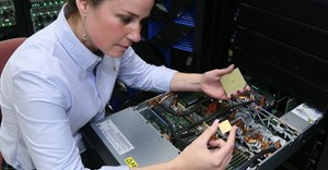 IBM Engineer, Stefanie Chiras tests the IBM Power System server in Austin, Texas