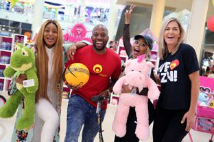 Jessica Nkosi, Bongani Mtolo, Kelly Khumalo and Mags Westerhof having fun in the name of Toy Story