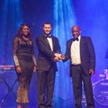 Lance Pullan of K-Line receiving the company's award for Most Improved Shipping Line presented by TNPA Port of Durban's Lwandile Mabuza (left) and Tshwaelo Matlhape (right).