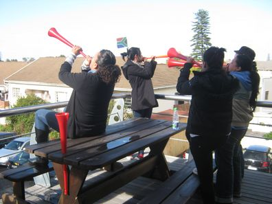 Bizcommunity staff blow their vuvuzelas!