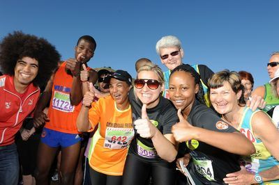 94.5 Kfm presenters Keri Miller and Elana Afrika get ready for the 10km run