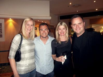Karen O'Connor, Ryan O'Connor (KFM DJ) , Alex Hulley (Marketing Manager Puma SA), Paula Hulley. - Skyfall Premiere