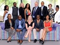 Top: Left to right- Nolusindiso Phenya, Brian Sibanda, Jill Hamilton, Sinqobile Ngcobo, Jim Donaldson, Jerry Sawyer, Linda Weaver, Koketso Phala. Bottom: Left to right- Precious Nkabinde, David Maila, Beth Laffin, Musa Stachan and Zamansele Mhlambi - Weber Shandwick and McCann PR Merge