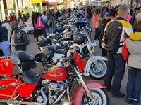 Bikes lining Hill street, Bloemfontein - Bikers for Mandela Day 2015