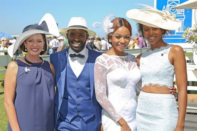 1Carolyn Steyn, Jorge Mavova, Bonang Matheba & Naledi Mabuso - L'Ormarins Queen's Plate 2016