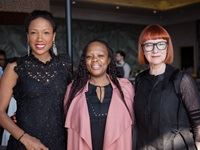 Shelley Mvulana; GM of Womensworld at Woolworths, Thateng Shimange; SAFW founder, Lucilla Booyzen