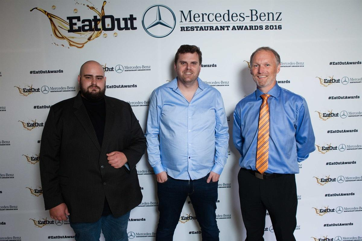 1Eat Out Retail Capital New Restaurant of the Year_Glen Williams and Scot Kirton of Foxcroft with Karl Westvig of Retail Capital