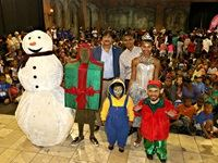 Left to right: Dr Hassen Adams, chairman Grand Parade Investments with GrandWest general manager Mervyn Naidoo and characters from some of the children's favourite fairy tales.