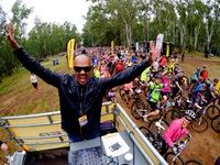 DJ Jazzy D entertaining the crowds at the starting line