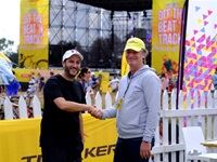 Jacaranda FM's GM, Kevin Fine, with Tracker's Marketing Executive, Michael du Preez