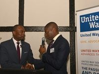 Albert White, Vice President Lilly Foundation and Thabang Tawarima, Board Chairman, United Way South Africa at the launch of United Way South Africa 1 June 2017
